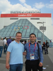Lyubo and I enjoying a trip to the Olympics to watch the under 74 kilo men's freestyle wrestling final...a fantastic day and great memories.