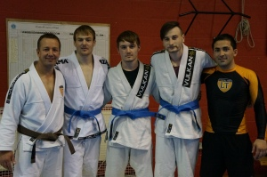 Don Eckley, Luke Hennessy and John Watson - BJJ Lifestyle Team's first three blue belts.